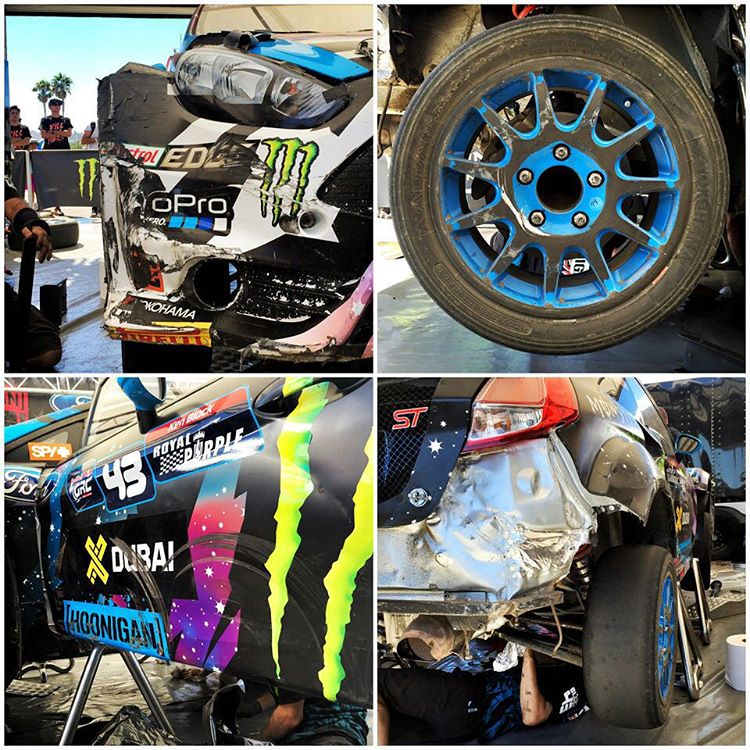 Battle damage after an especially rough final at #GlobalRallycross Los Angeles yesterday. The wheel shows the most likely potential of what happened to my prop shaft: that much rubber means the wheel was probably brought to a stop and the prop shaft...