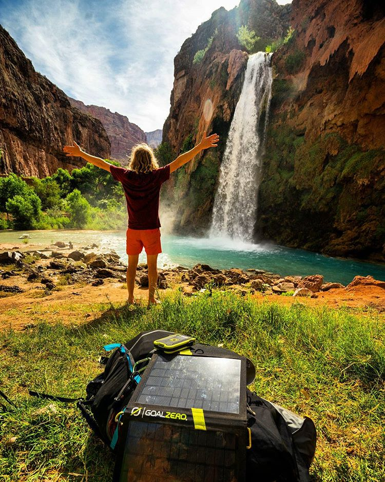Mid moment at Havasu Falls. #getoutstayout  Photo: @chrisburkard