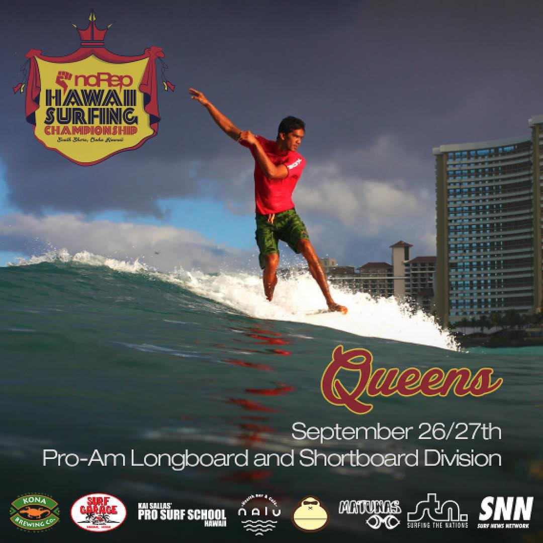 One down, now on to the next! September 26 & 27 the Hawaii Surfing Championship will be having its second leg at... QUEENS! Set those dates in your calendars to come down and watch the pro-am longboard and shortboard divisions, with a prize purse of...