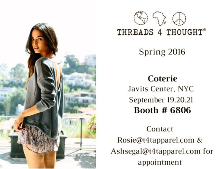 Only 4 more days till #coterie! Make sure to check us out at the Javits Center NYC this weekend, booth #6806. @enkshows @javitscenter #sustainablefashion #spring2016collection