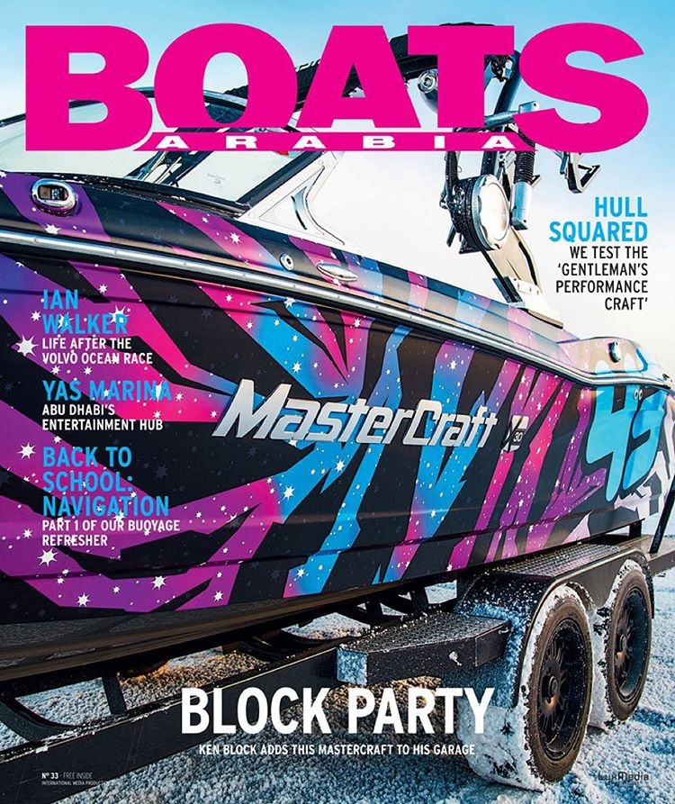 My new @MCboatcompany X30 made it onto the cover of an international boating magazine! Ha, that's really dope. Never thought I would get a cover of a boat mag. Amazing. Thanks, Boats Arabia! #covermodel #intergalaticboating #Mastercraft2015
