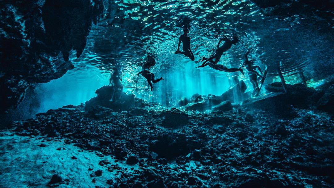 Photo of the Day!  A #scuba diver's view of swimmers in a Mexican cenote, where a subterranean body of water meets the surface. Image via Nicolas Thiou using his HERO4 Black in Time Lapse mode taking a photo every two seconds. Share your best dives...