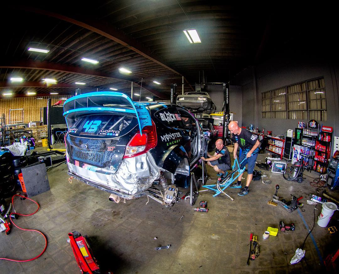 Yesterday's post-race reprep session at the new Hoonigan #DonutGarage in Long Beach, CA. The team is getting my Ford Fiesta #RX43 ready for the next round of the #GlobalRallyCross Championship in Barbados. This thing took a bit of damage this past...