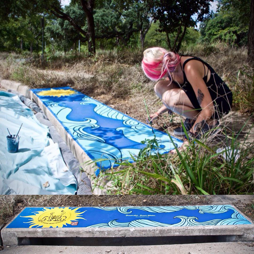 @zuzubee creating her storm drain piece today for Fresh Art Fresh Water #FreshArtFreshWater that serves to highlight and educate people about the importance of keeping our creeks clean from pollution runoff into storm drains. Read more about the...