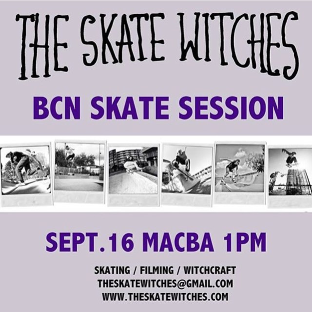 TODAY IN BARCELONA!  Kristin will be hosting @theskatewitches session starting at 1pm in MACBA. Women, men & fluffy pets welcome. Join them for some serious skating, filming and of course witchcrafting.  #theskatewitches #barcelona #macba #skate...
