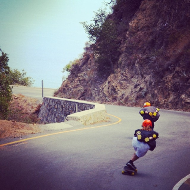 Dustin Hampton and @danewebber wear #S1 #Lifer #Helmets . #malibu #downhill #skateboarding #skatefast #s1helmets
