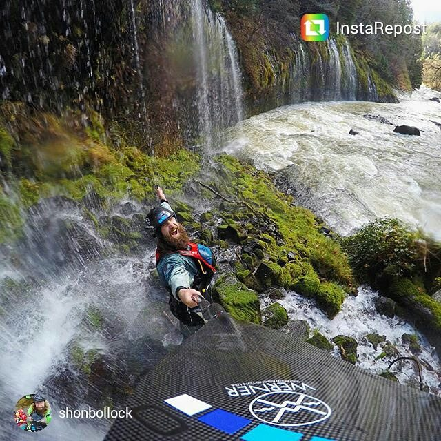 Happy #waterfallwednesday!  Love the pic @shonbollock and the helmet isn't bad either! #standard #cuzrockshurt @wernerpaddles
