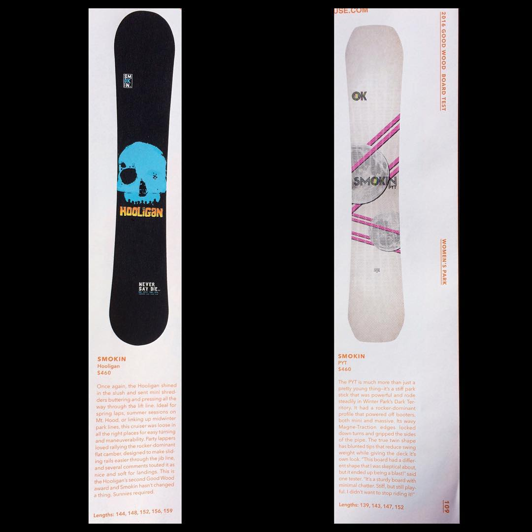 Top 10 Best men's park board #Hooligan . Top 10 Best women's park board #PYT.  Thanks very much for the great reviews @twsnow  #weareOK | #ForRidersByRiders | #handmadeUSA | #GoodWood2016