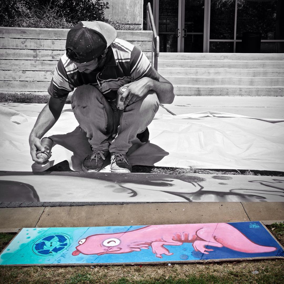#8 of 10 -1000 W Rundberg Ln Austin TX 78758 • • @manwithpencil finishing up his storm drain for Fresh Art Fresh Water #FreshArtFreshWater that serves to highlight and educate people about the importance of keeping our creeks clean from pollution...