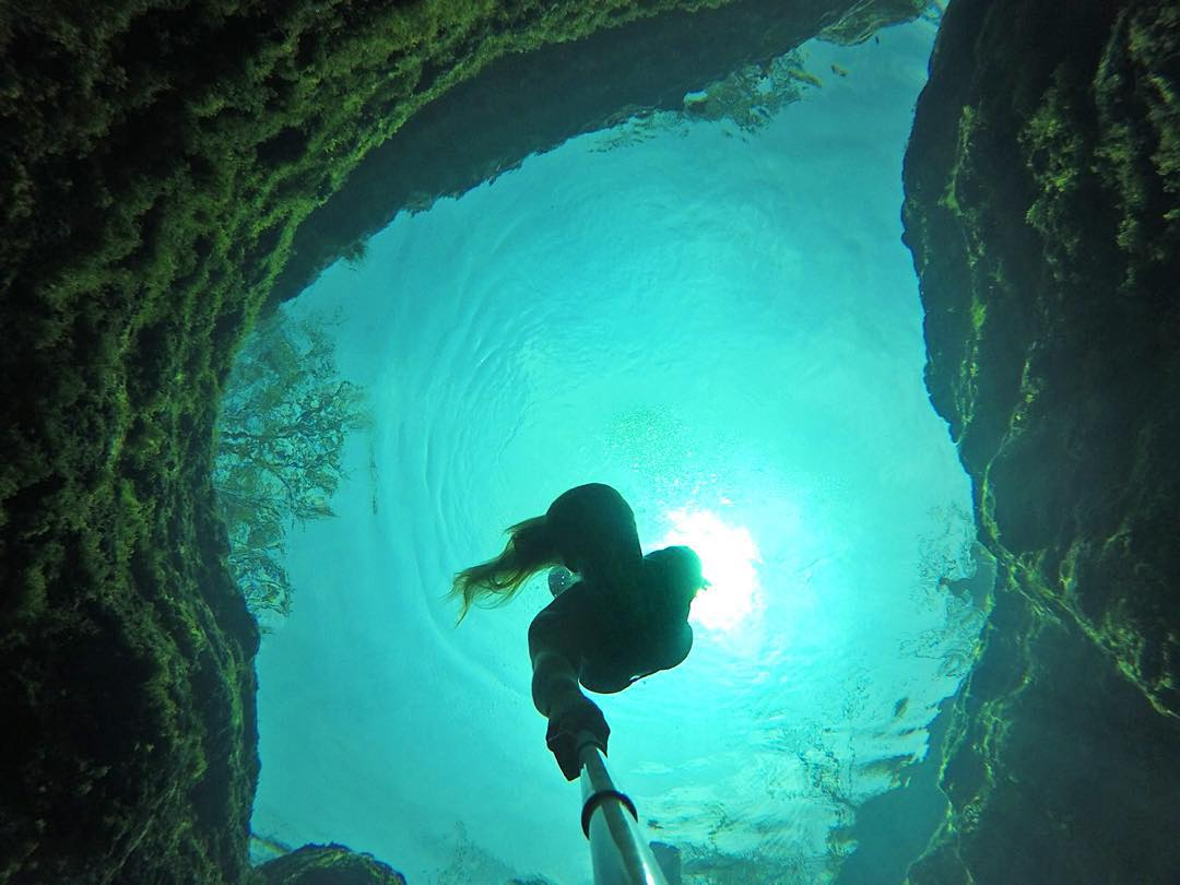 @wakecarro diving Jacob's Well in Texas. GoPro HERO4 | GoPole Reach #gopro #gopole #gopolereach #jacobswell #texas