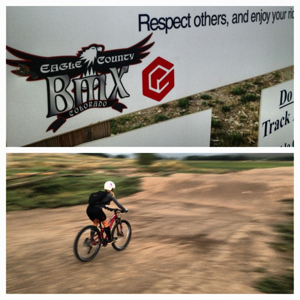 We checked out the new Eagle Bike Skills Park because ominous clouds shortened our mt. bike ride #bmx #dirtpark