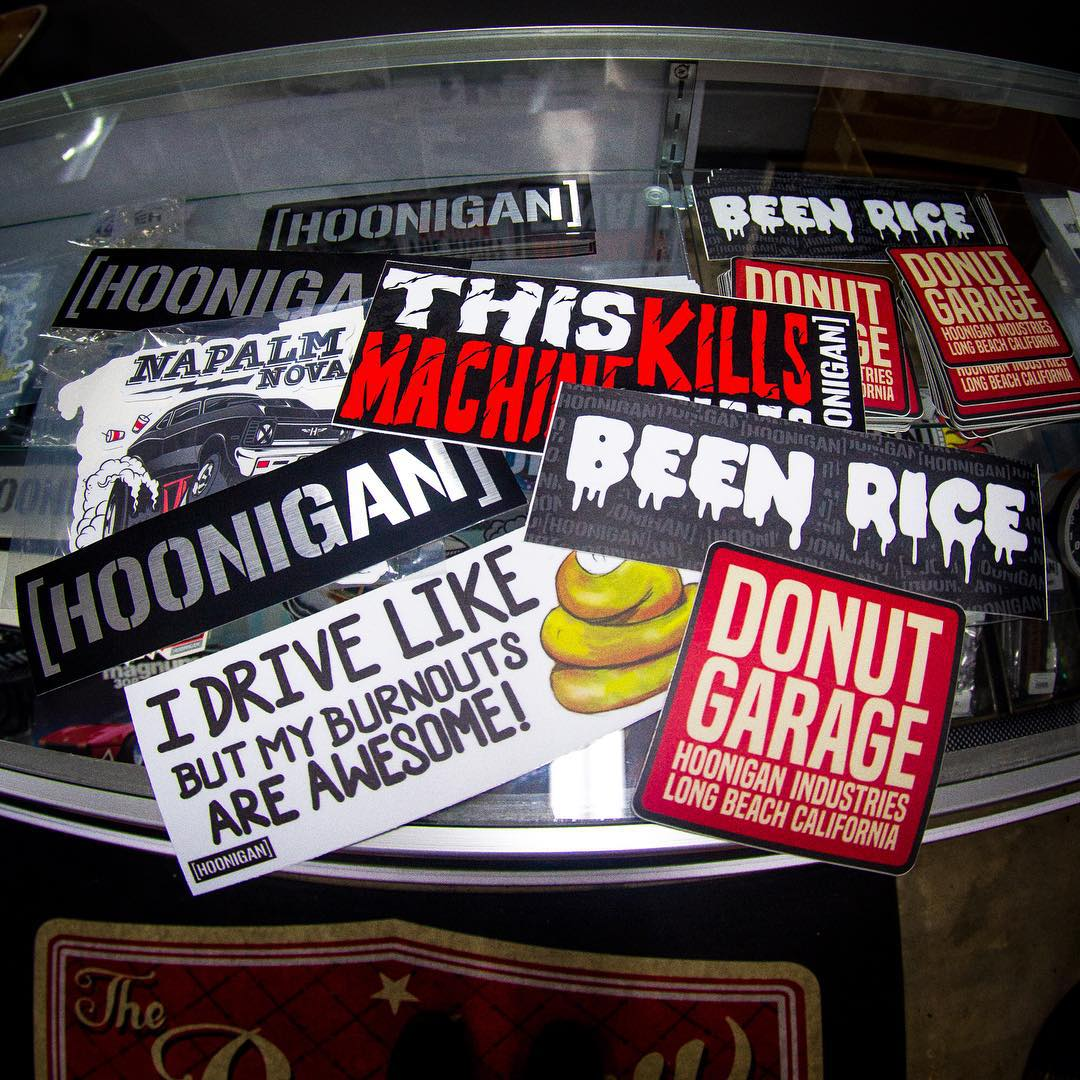Need stickers? We got all new slap-ups available at the #donutgarage, which is open today 3pm-7pm. Come get 'em!