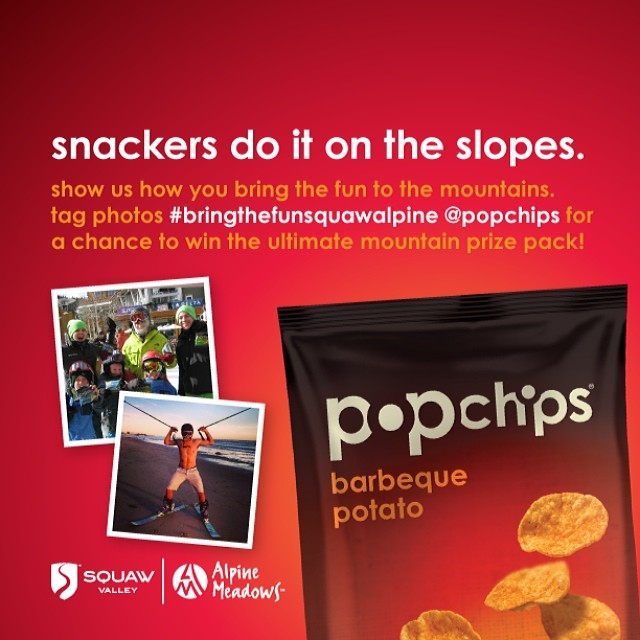 Get ready for a great weekend with 2014 #SquawValleyProm supporter @popchips | Win the ultimate prize pack by tagging #BringTheFunSquawAlpine and @popchips at @squawvalley and @skialpine while snacking away!