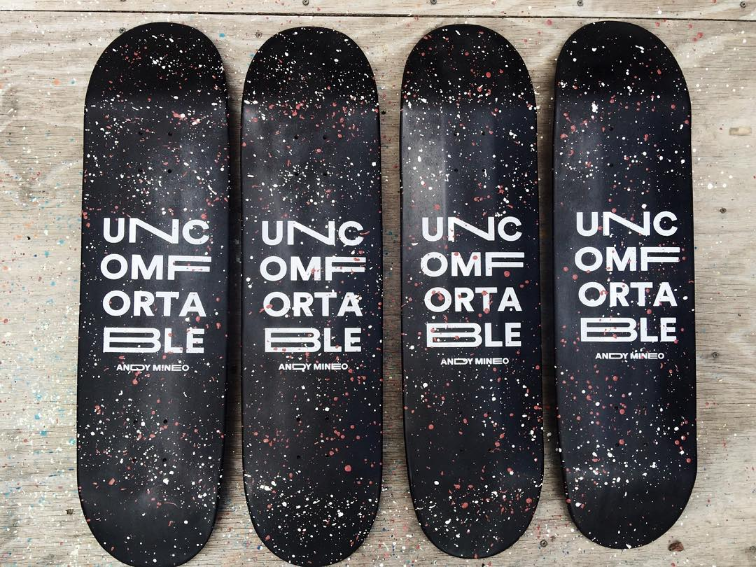 Some decks we did for @andymineo for his album #uncomfortable which comes out today. #handmadeskateboard #madeinnashville #andymineo #reachrecords #116