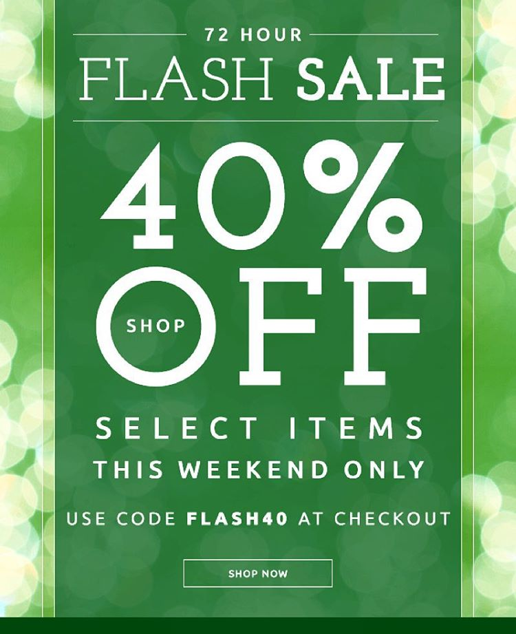 What better way to start the #weekend than a 72 hour flash sale?! Shop select items online this weekend for 40% off. #happyfriday #sale #weekend #shop #sustainable
