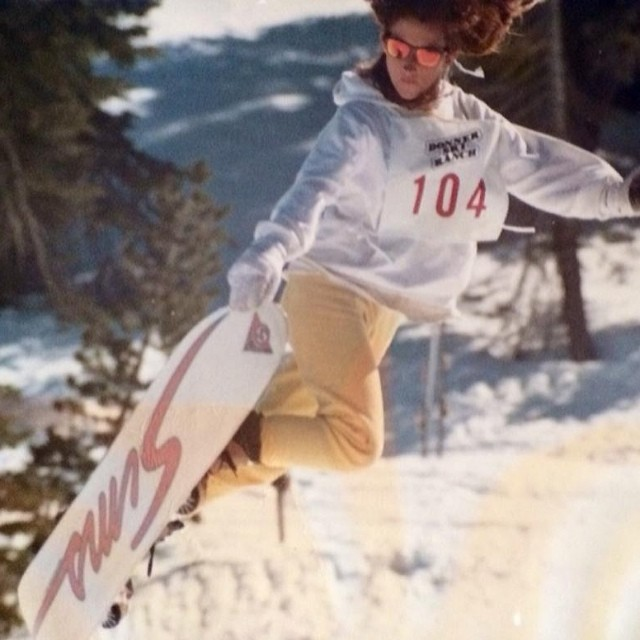 "This is our favorite #TBT to date, from B4BC cofounder Tina Basich!! ""Throwing it back to 1986-87 winter at Donner Ski Ranch halfpipe. When this photo was taken the biggest halfpipes were 4.5 feet tall and my biggest trick was an alli-oop. I'm wearing..."