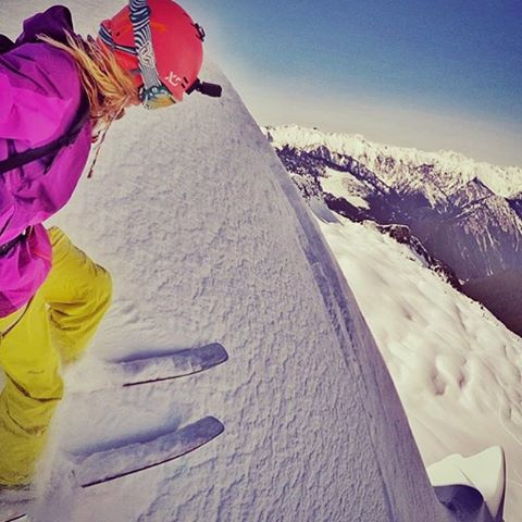 XS team rider @lynseydyer in her playground #mountain #xshelmets  #gopro #ski #snow #pow #upskis #unicornpicnic