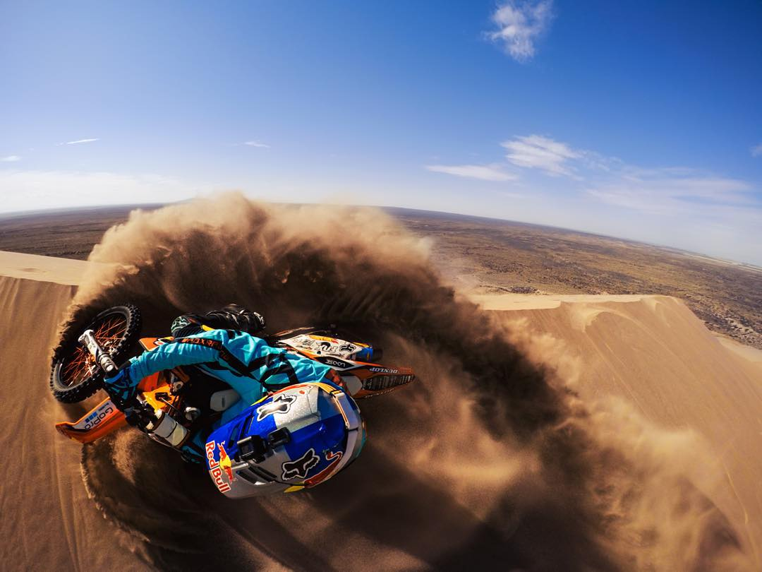 Photo of the Day!  #GoPro athlete and freeride legend @rendawgfmx rips up the St. Anthony Sand Dunes in Idaho during the 2015 #ronnierennerfreeridetour. Captured on a #HERO4 Silver by @superjrod and @hogstine. #GoProMoto