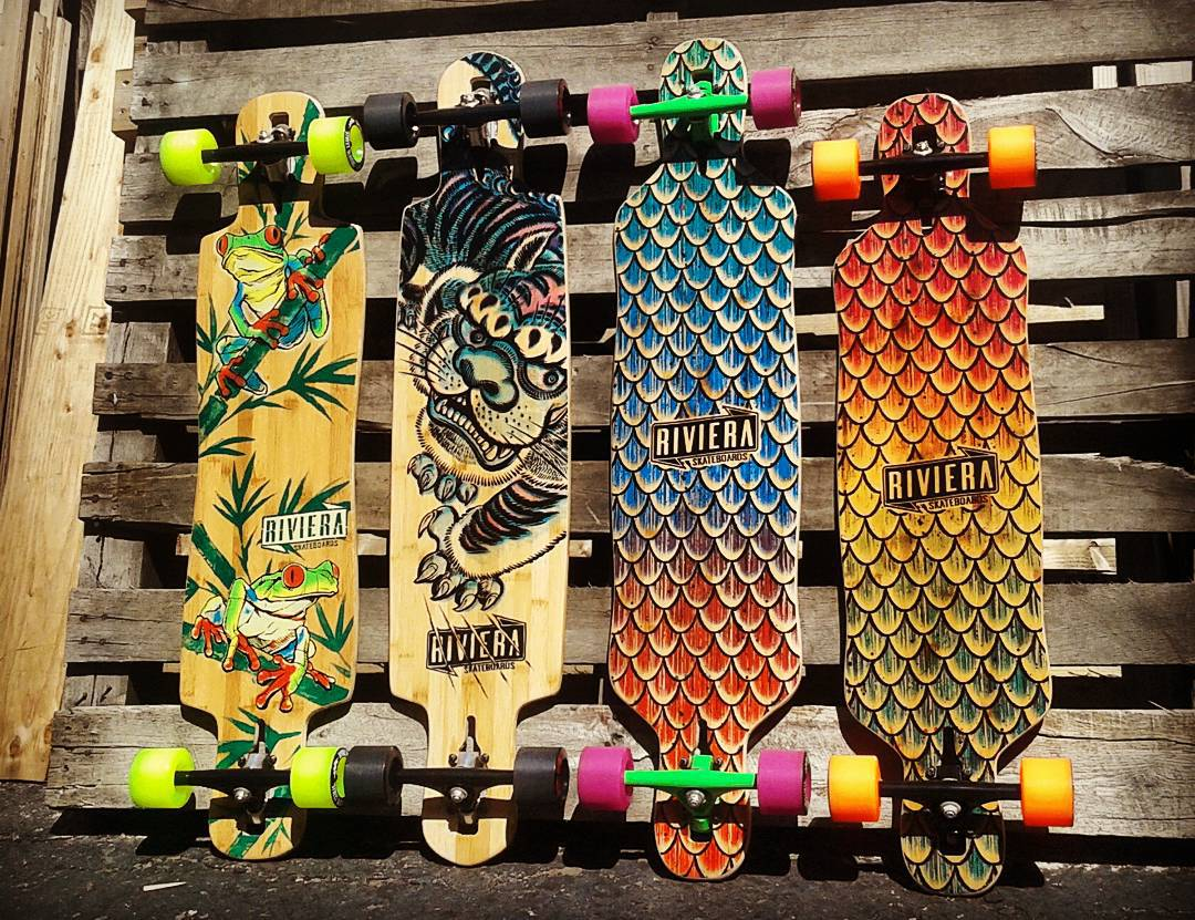 "Left to Right: La Rana - 9."" x 40"", Kung Fu Kitty - 9.5"" x 40.5"", Sea Snake - 9.5"" x 41.5"", Beta Fish 9.5"" x 38""  @skateriviera #Skateriviera #futureclassicsessions"