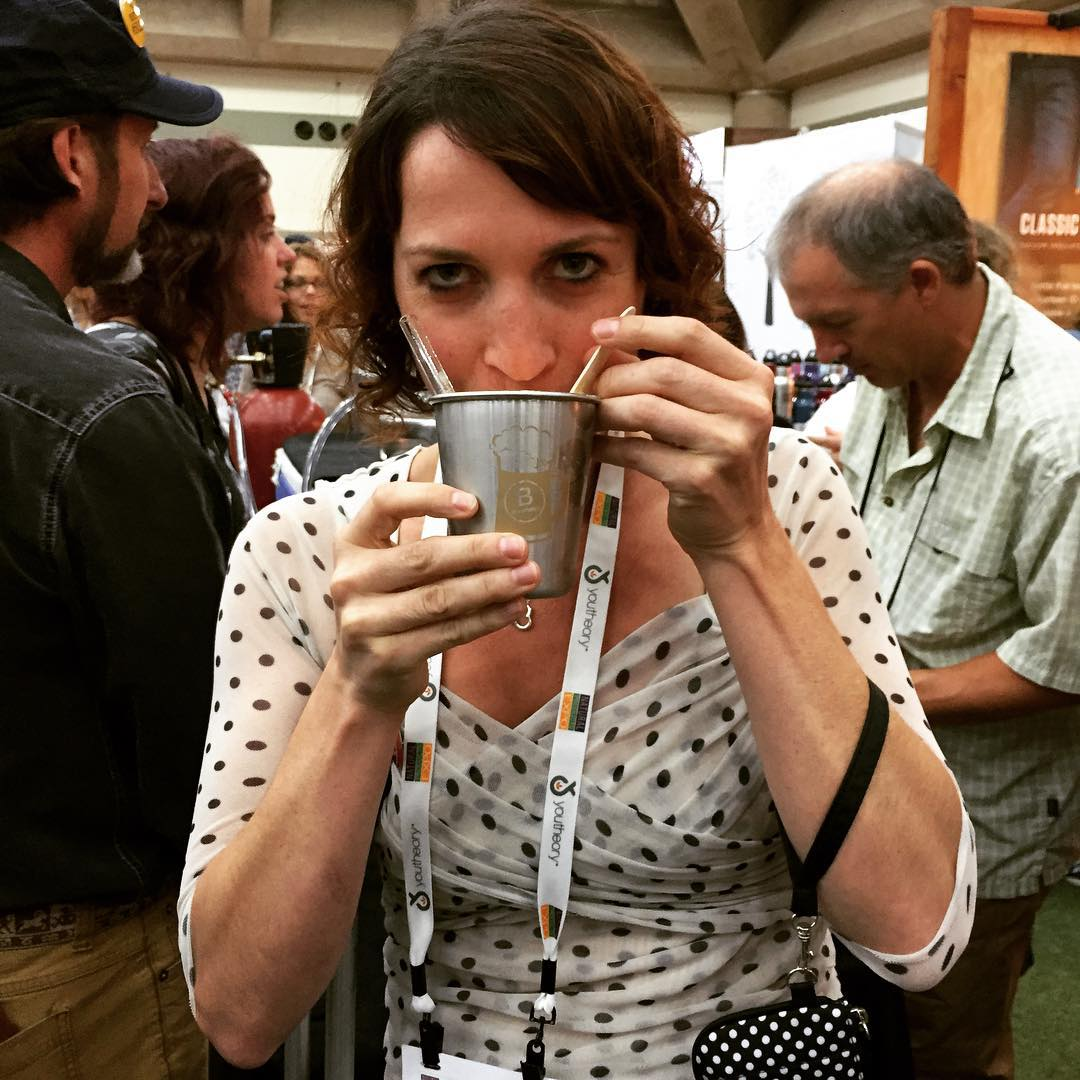 "our dear friend and one of the best B Keepers in the community Rebecca Hamilton from @badgerbalm enjoying a #BtheChange beer float w/ @jenisicecreams @newbelgium @simplystraws @plumorganics ... Her response: ""remarkably delicious"" ... Hosted, poured,..."