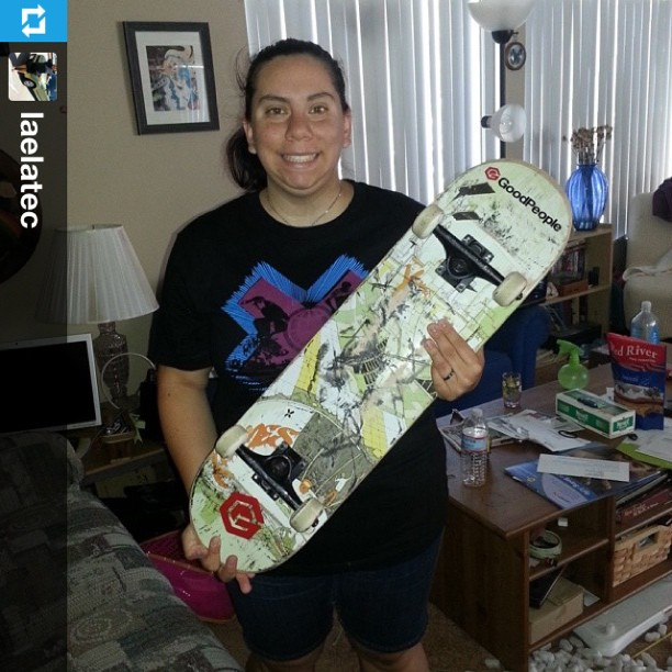 Woo! #GoodPeople @xgames contest winner @laelatec is stoked on her new board! #skateboarding #skateeveryday
