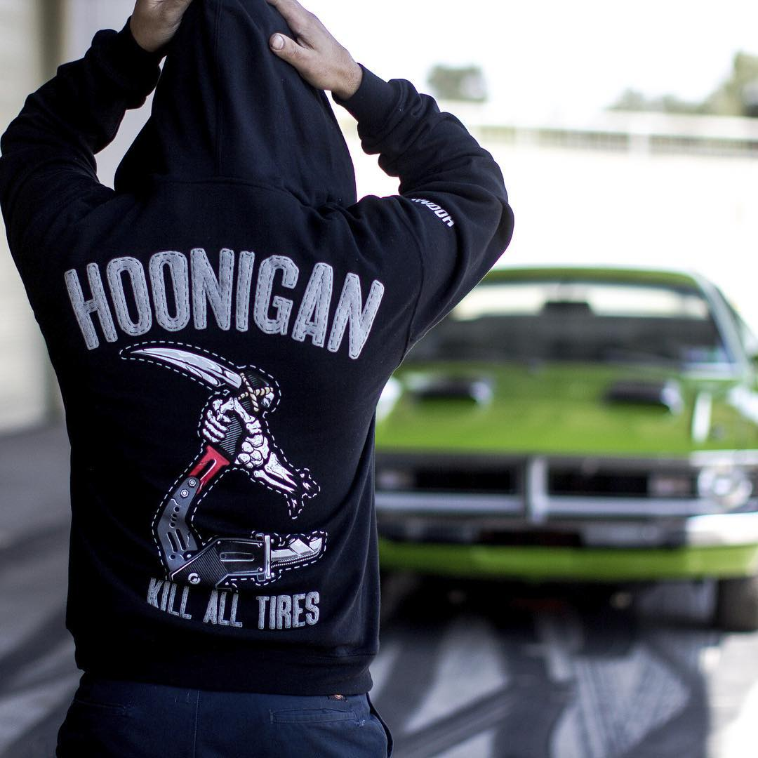"That feeling when you step back and think, ""What have I created?"" Our new Reaper Hoodie is available now, get one by visiting #hooniganDOTcom. @tangelo96 #demon340 #hotrodgarageshow"