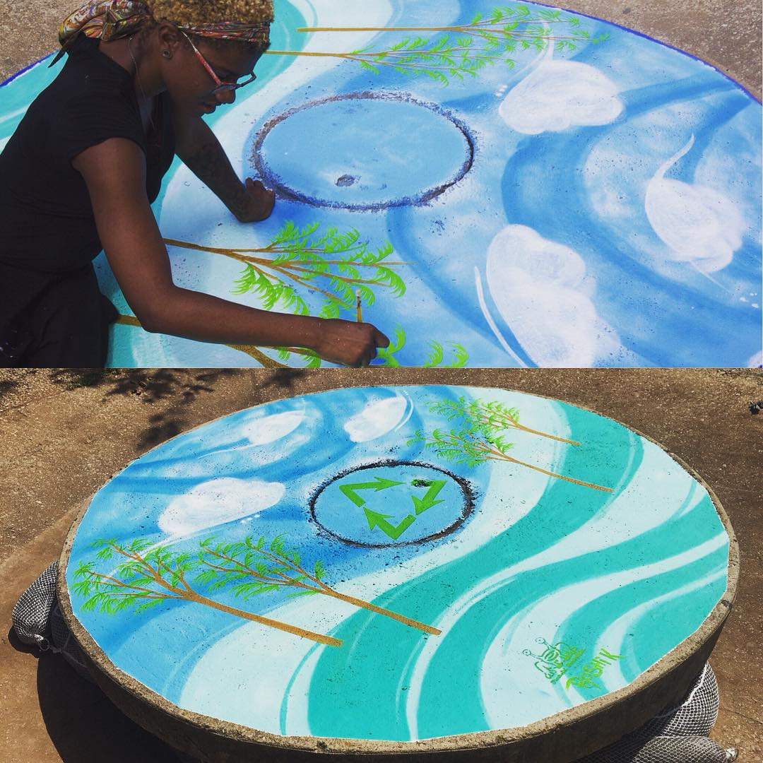@roshi_k finishing up the 10th and final storm drain for Fresh Art Fresh Water #FreshArtFreshWater today at Barton Springs! • The project serves to highlight and educate people about the importance of keeping our creeks clean from pollution runoff into...