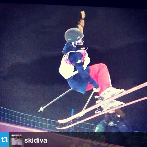 #Repost from @skidiva. Congrats to Maddie Bowman and a heartfelt dedication to #SarahBurke. We miss and love you. Don't let the flame go out. #celebratesarah #skiing #halfpipe