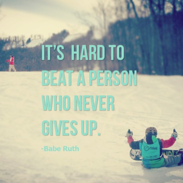If you never give up, you're winning. Happy Friday! Looking forward to hitting @belleayre this weekend to see our progression from the beginning of our #SnowMentor season. #stokedneverstops