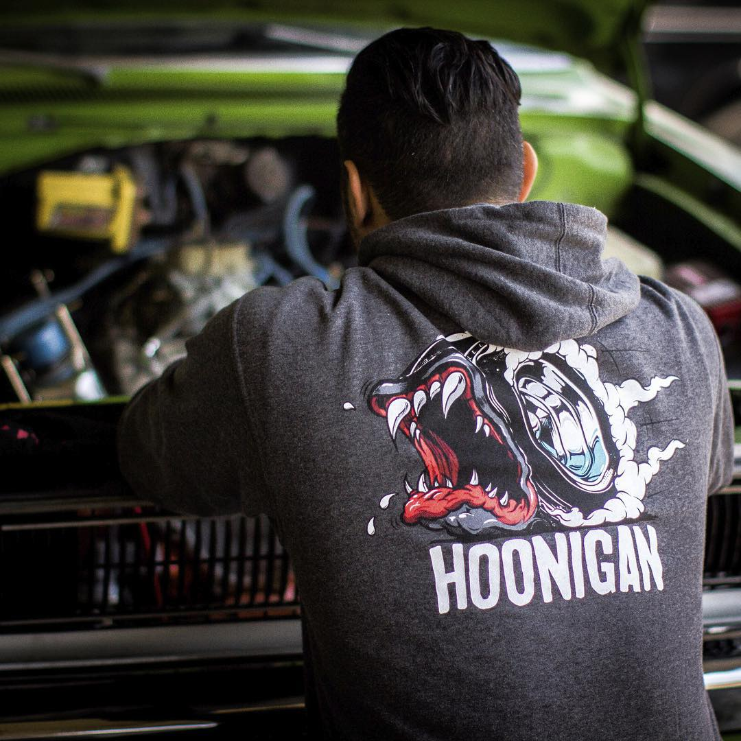 Sometimes you just want to pop the hood and stare. Get our Creature of the Hoon Hoodie only by visiting #hooniganDOTcom. @tangelo96 #demon340 #hotrodgarageshow