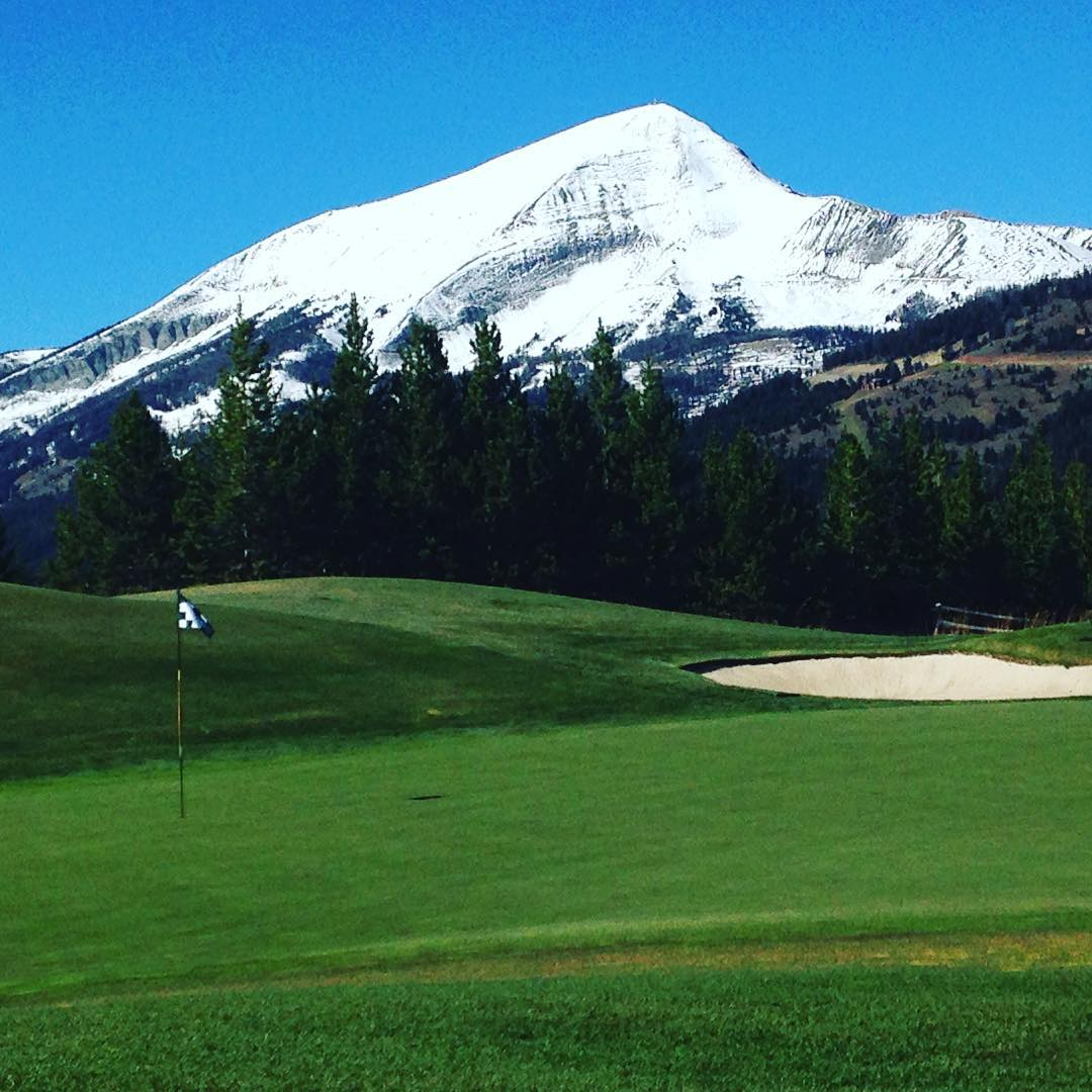 Cheers from the #golfcourse at the #yellowstoneclub in #montana! #alpinegolf #lonepeak #golf