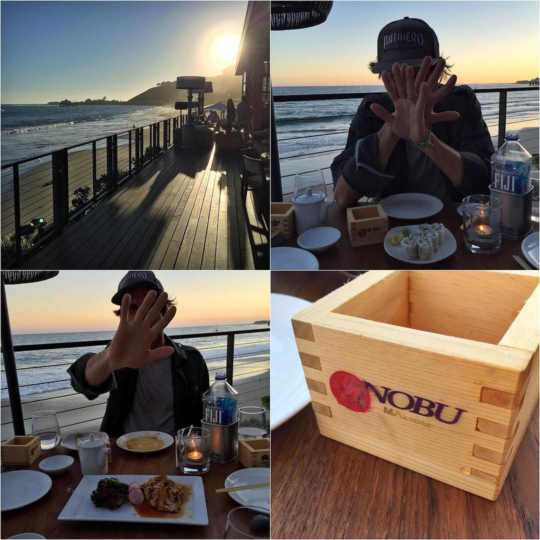 Last night's epic dinner spot: Nobu in Malibu. My long time friend @DamonWay embarrassed us by ordering a California roll AND chicken teriyaki. This isn't a mall food court, Damon! We talked him into trying some real sushi and he ended up loving it....