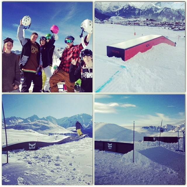 Boarders competed in a contest at the KALI snow park at l'Alpes d'Huez and won some cool new KALI MAULA helmets! #kali #kalipro #kaliprotectives #kaligear #kalisnowpark #l'Alpes d'Huez #maulahelmets