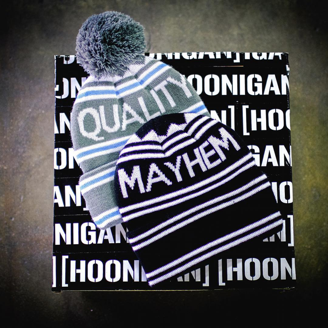 Don't live life with a cold dome. Pick up our #qualitymayhem beanie by visiting #hooniganDOTcom. #getitwhileitshot #sowhenitscoldyouregood