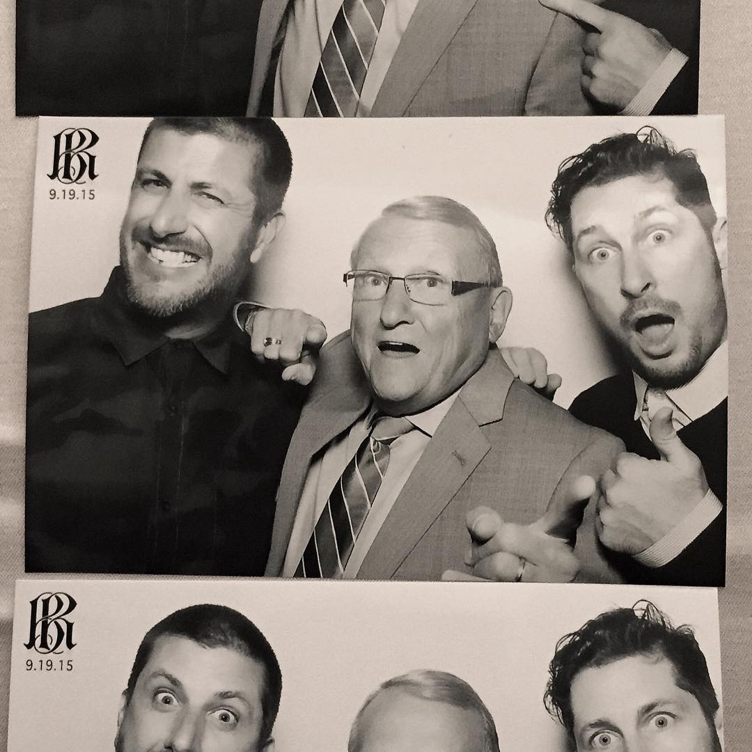 Good times celebrating at Rob's wedding with these two gentlemen last night: Gene Dyrdek (Rob's dad) and @SteveBerra. #herecomethedyrdeks #geneknowshowtoparty