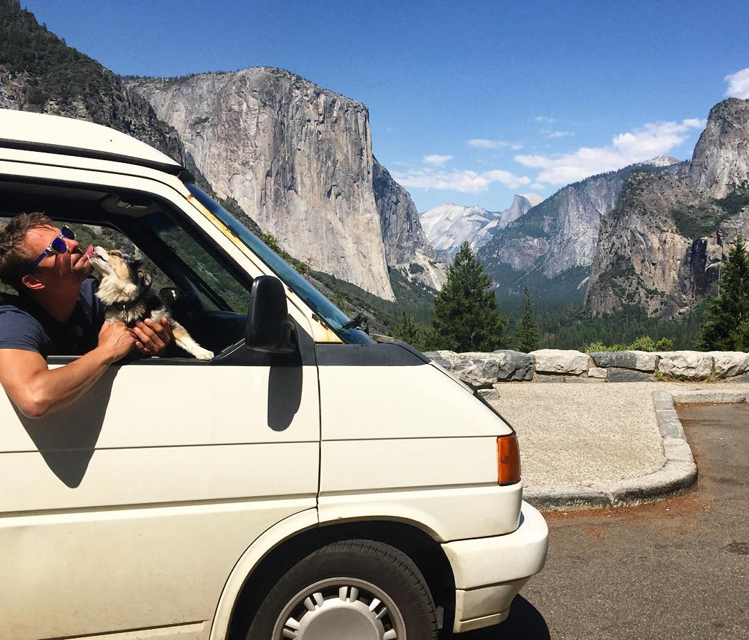 Warning: the Blue Originals may attract attention from furry friends.  Great shot from @helgathevan of Maeby the pooch sharing some love in Yosemite.