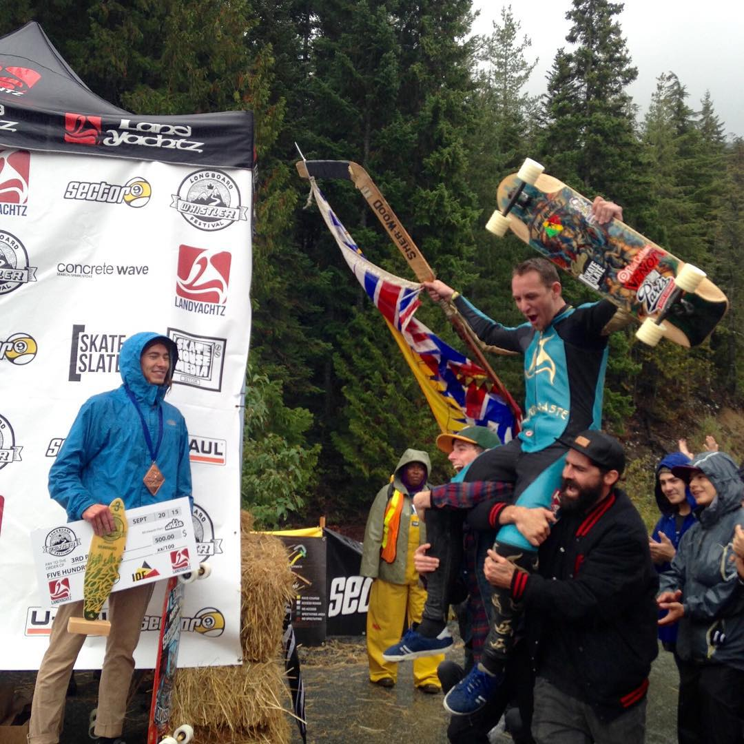 Team rider @troy_yardwaste takes the win in soaking wet conditions at this year's @whistlerlbfest. Blame Canada, eh! Troy's been dominating the race circuit this year and we're stoked to have him representing on #paristrucks.
