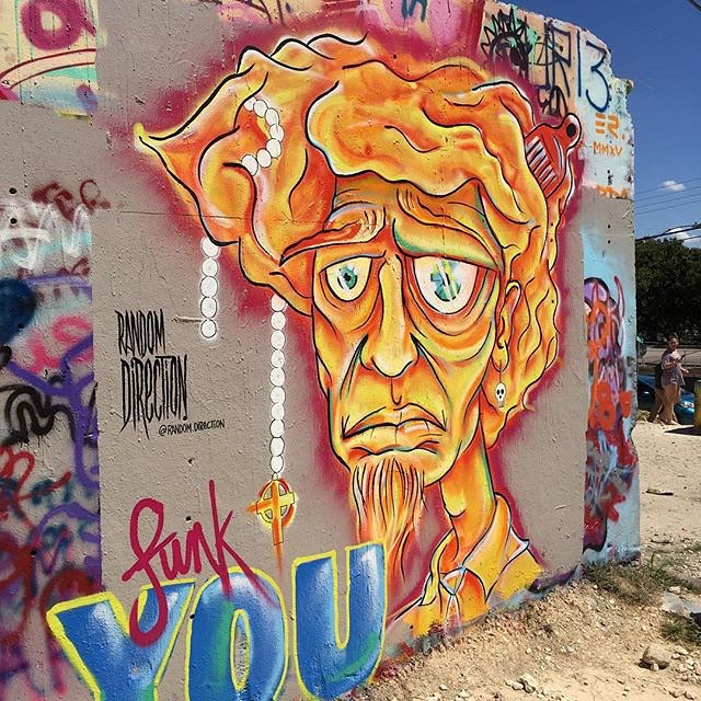 "@random.direction • • ""Funk You"" • • #atx #austintx #texas #tx #spratx #randomdirection #mural #art #streetart"