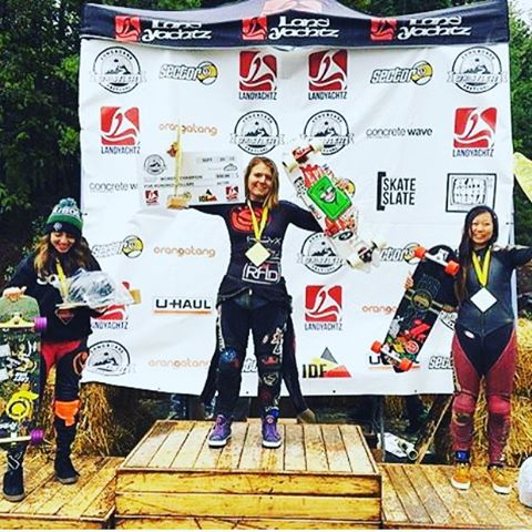 Yeah ladies!! After an extensive wet weekend racing in the rain, @emilylongboards won @whistlerlbfest in Canada!  @sk8namaste got 2nd and LGC Colombia ambassador @chelagiraldo got 3rd!  Congrats everyone!  #longboardgirlscrew #womensupportingwomen...