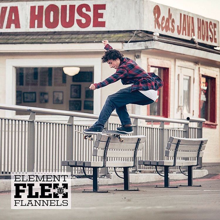 "You'll never have to take your flannel off to skate again >>> ""Ride Without Restrictions"" Element Flex Flannels are now available >>> Click the link in bio #ElementFlex"