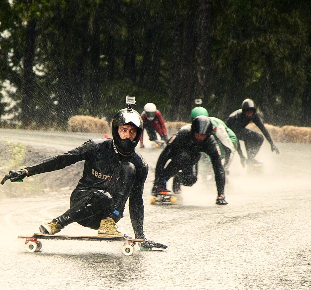 Everyone knew it was going to be wet for the @whistlerlbfest so most did the right thing and grabbed some bamboo sandwiched in fibreglass to ensure a strong, durable skateboard that is most of all impenetrable from water.  Here is rayne homie...