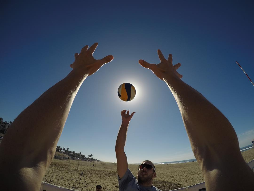 What's it like to be a 7-footer blocking a shot on the sand? @AVPBeach #Volleyball player @robbie_page knows all about it.  Photo captured by @AGamePhoto with the camera set to 30/1 #BurstMode and triggered using the #GoProApp.