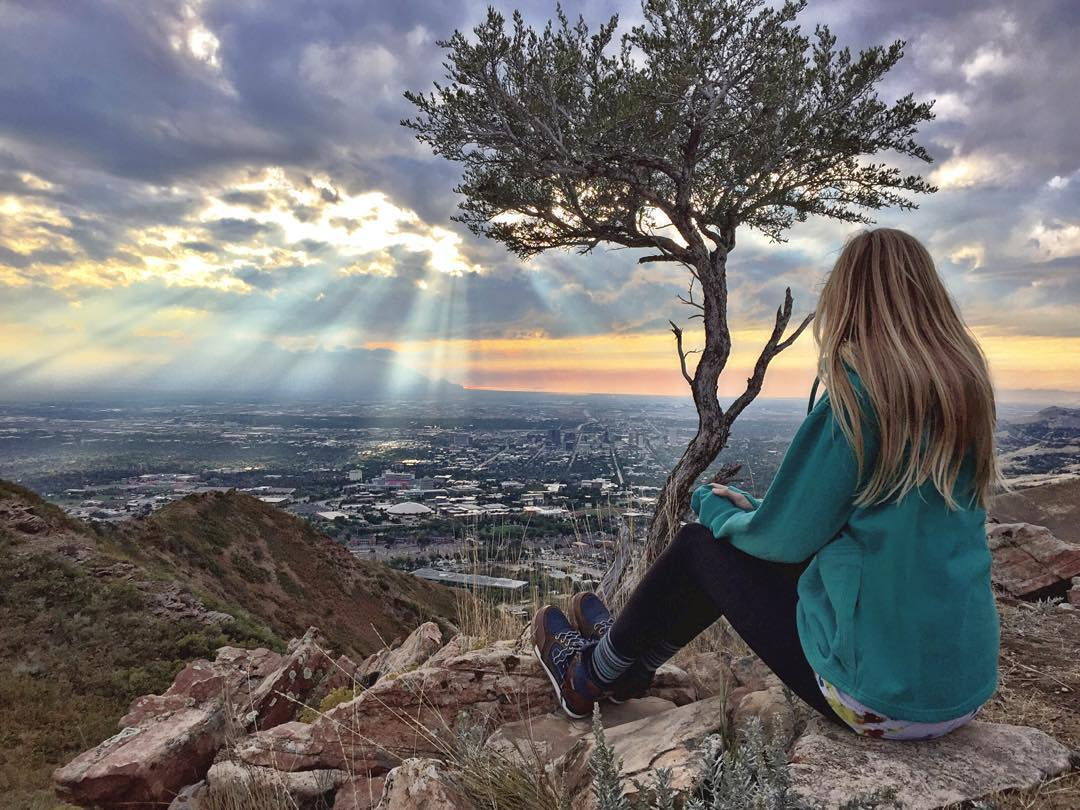 @kirstelliott enjoying the view of SLC from above.