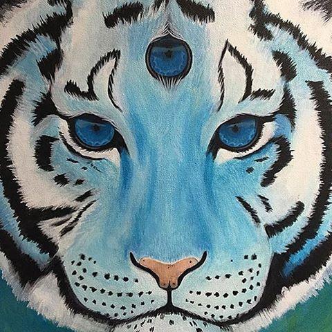 @artbyerinrose • • #atx #austintx #texas #tx #spratx #art #canvas #tiger #thirdeye
