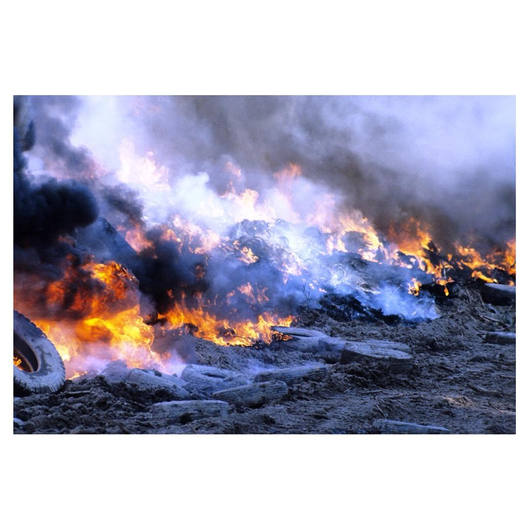 This is a tire fire. Tire fires are the WORST. When tires burn, toxic oils seep into the soil and horrible fumes are released into the air. Tire fires burn and burn for days, weeks, and even months because it is incredibly difficult to extinguish them....