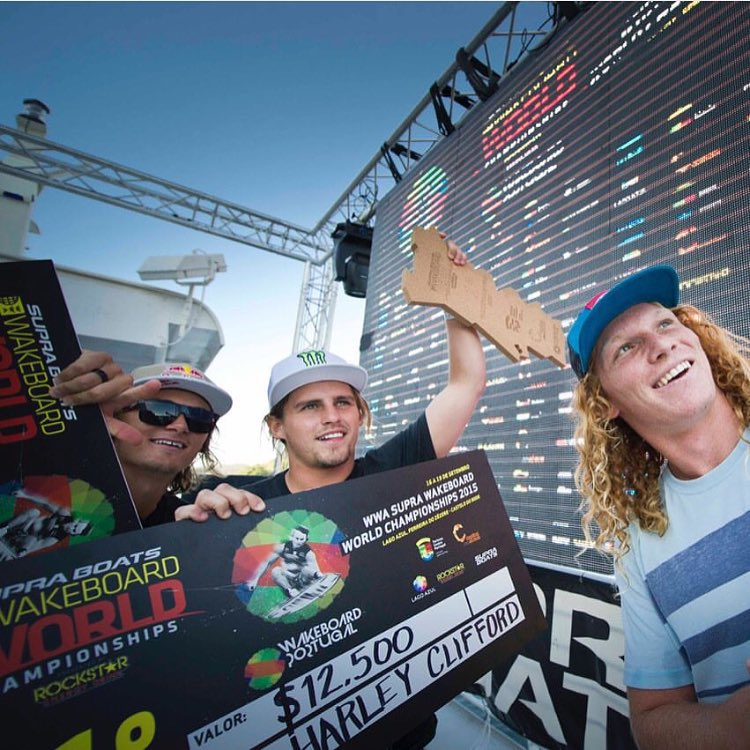 @harleyclifford is the new wakeboarding #WorldChampion! @nfleegs takes second place. Congrats boys! Photo: @rodrigosnaps #wakeboarding #WBWS #Portugal