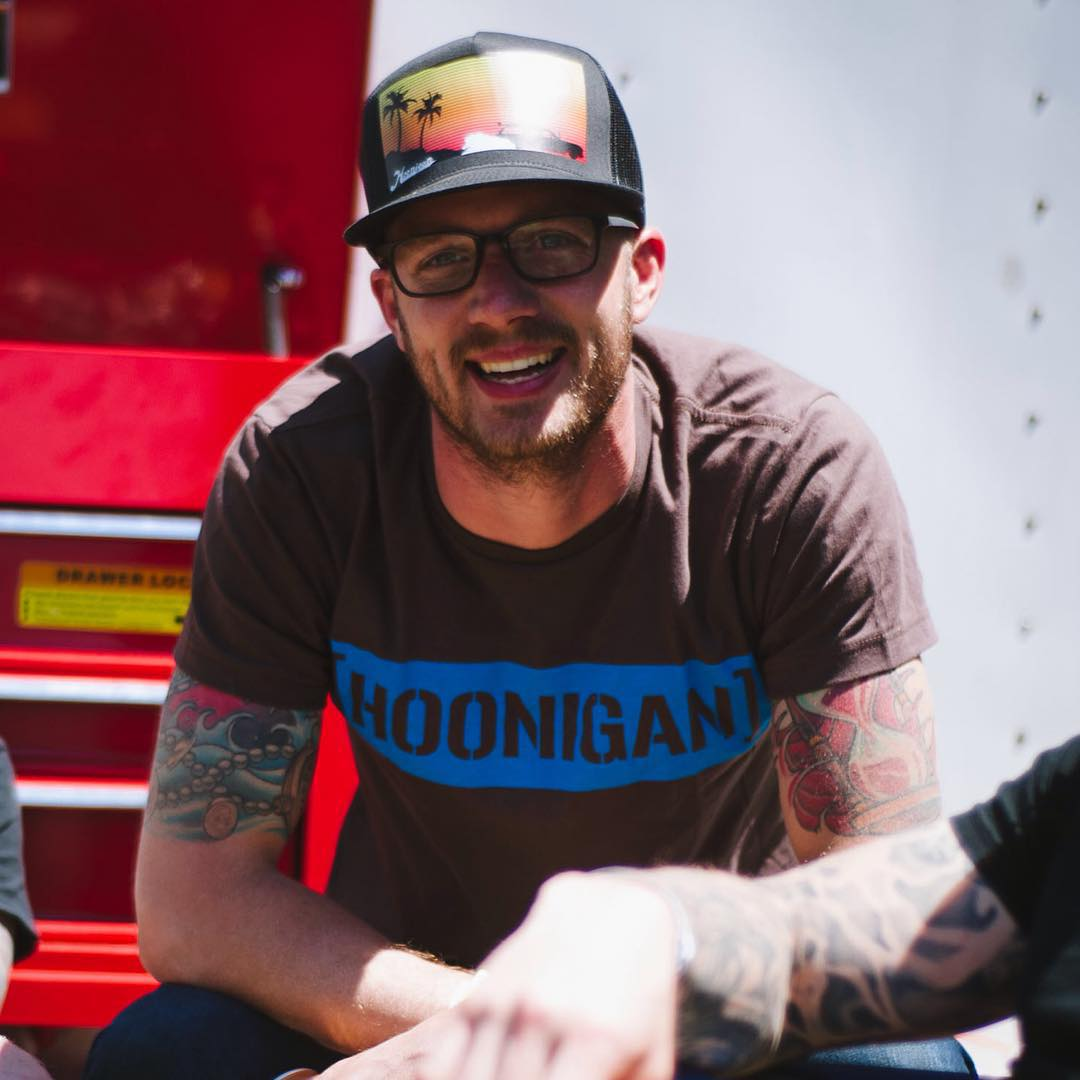 Who doesn't love a classic #HNGN C-bar tee? @ryantuerck does. Available on #hooniganDOTcom in all sorts of color combos.