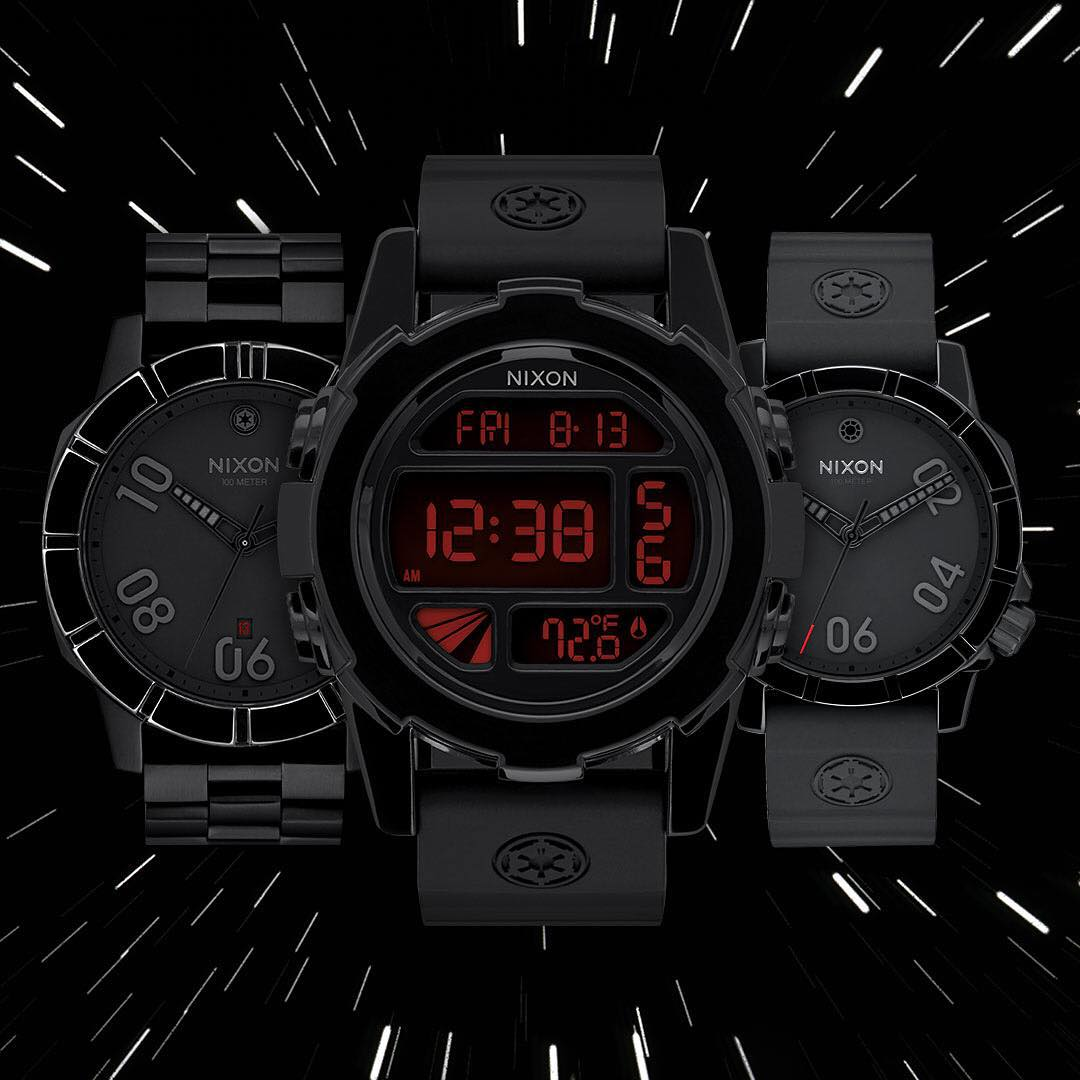 Inspired by the Empire's black-suited pilots, the #ImperialPilot collection features custom hour and minute hands influenced by the #TIEFighter's helmet ventilation system and subtly placed Imperial logos. @StarWars | #Nixon Dark Side Collection: Part...
