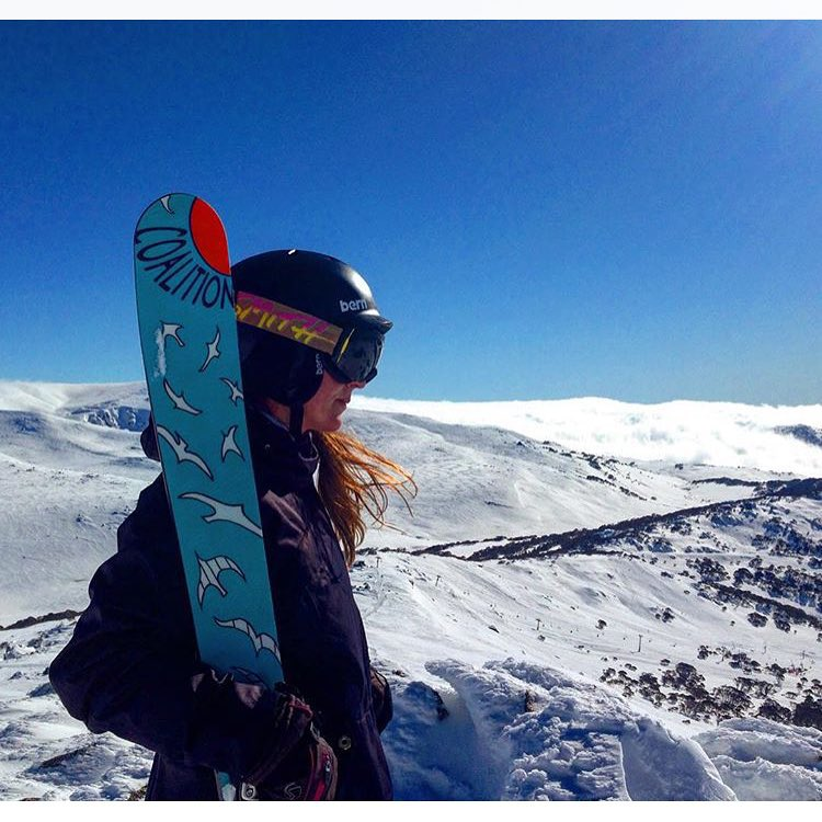 Lookin' good Australia!! @spacemegls scopin' her kingdom. #sisterhoodofshred #skiing #skyhigh #alpinebabes