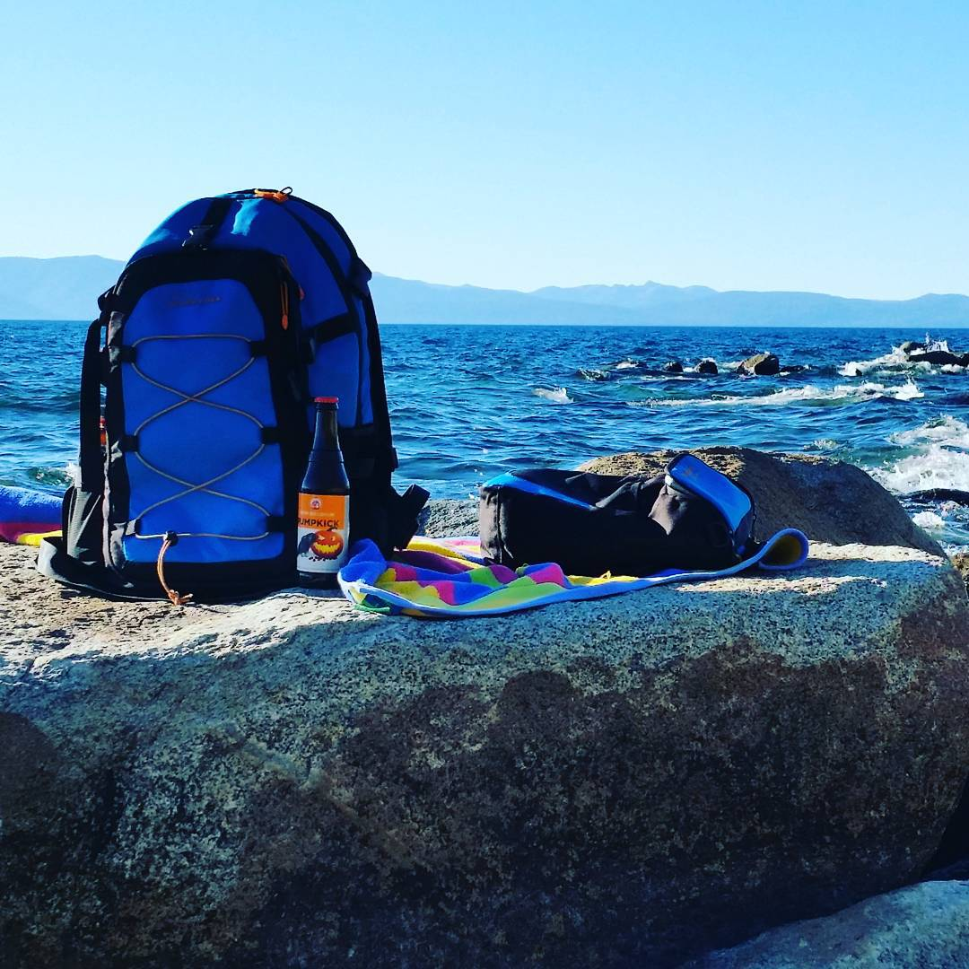 Killer spot to catch some rays and watch the sun go down.  Keepin' the brews cold in our detachable Cascade cooler. #tahoe #getoutside #whatsyour20 #newbelgium #pumpkick #brews #backpacks #coolers #graniterocx
